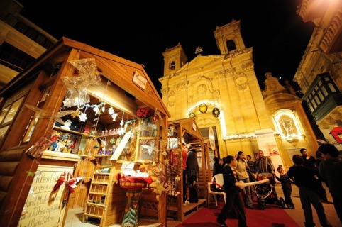 Bustling Christmas market at St. George's Square, Gozo